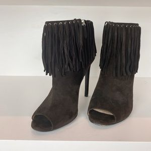 PRADA brown fringe booties